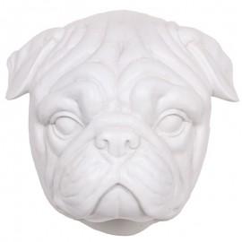 Statue tête de chien BOULEDOGUE en résine blanche - 23 cm
