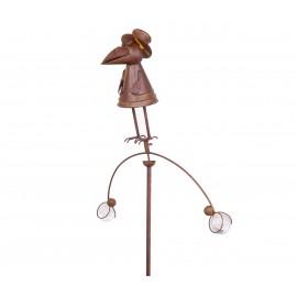 MOBILE en fer et verre statue corbeau rond - 163 cm