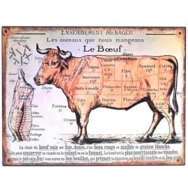 PLAQUE tôle publicitaire en fer vache découpe cuisine boucherie - 33 cm