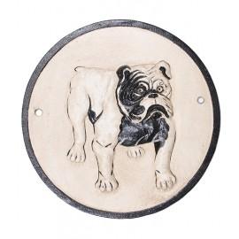 Plaque de garde statue chien BOULEDOGUE en fonte - 24 cm