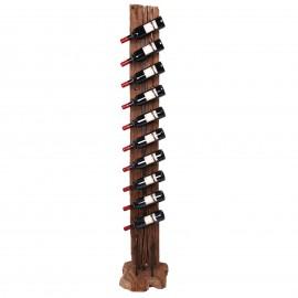 Porte bouteille, en bois de teck et fer dix inserts de présentation 193.cm