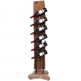 Porte bouteille, en bois de teck et fer six inserts de présentation 133.cm