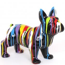 Statue  chien en résine bouledogue Français multicolore Martin - 50 cm