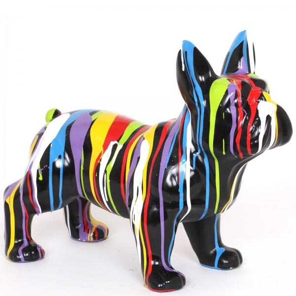 statue chien en r sine bouledogue fran ais multicolore. Black Bedroom Furniture Sets. Home Design Ideas