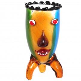 Vase visage trois pieds en verre de style Murano  - 30 cm