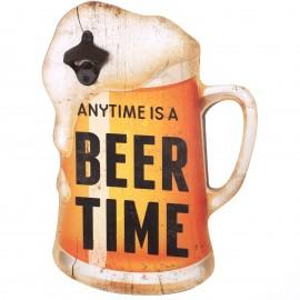 Décapsuleur chope de bière vintage mural en bois - 40 cm