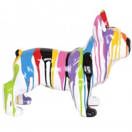 Statue  chien en résine bouledogue Français multicolore (Dominique) - 50 cm