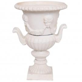 Vase Médicis jardinière en fonte avec poignées de couleur blanc - 32 cm
