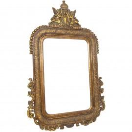 Miroir mural doré en bois décor anges et fleurs - 156 cm