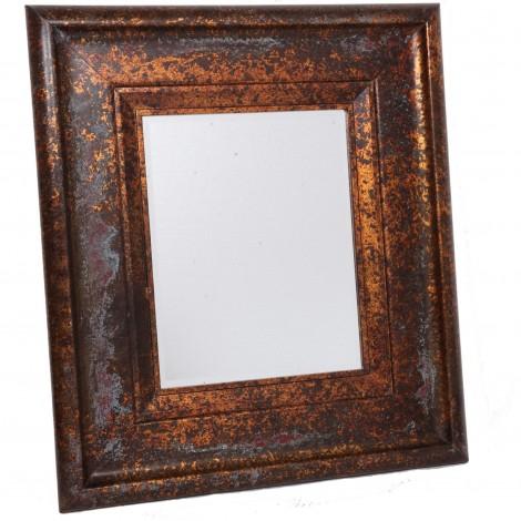 Miroir mural biseauté en bois doré patine vintage usine 87 cm