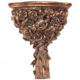 Console d'applique murale dorée en résine étagère bouquet de fleurs patine antique - 40 cm