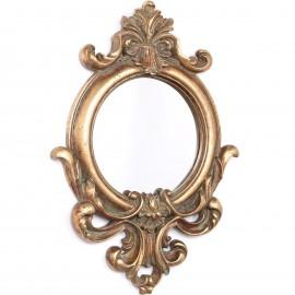 Miroir doré rond en résine de style louis XV  - 60 cm