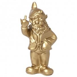 Statue en résine NAIN de jardin doigt d'honneur doré - 33 cm