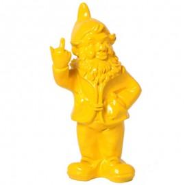 Statue en résine NAIN de jardin doigt d'honneur jaune - 33 cm
