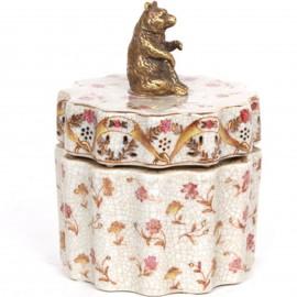 Boite en faïence craquelée. coffre. boite a bijoux. avec statue ours en bronze -14 cm