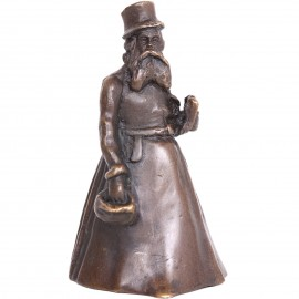 Cloche de table en bronze clochette sonnette statue homme barbu au chapeau - 10 cm