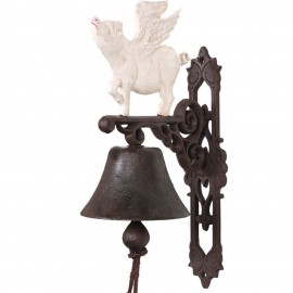 Cloche de porte en fonte statue cochon ailé blanc - 37 cm