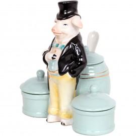 Service à condiment en porcelaine statue cochon sel et poivre moutarde - 13 cm