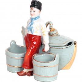 Service à condiment en porcelaine statue jeune marin sel et poivre moutarde - 13 cm