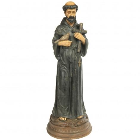 Statue religieuse en résine moine avec oiseau et croix - 80 cm